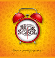 back to school design with red alarm clock and vector image vector image