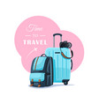 backpack and suitcase isolated on white background vector image
