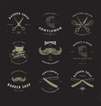 barber shop logo set invert vector image
