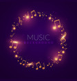 beautiful shiny music circle with golden notes vector image