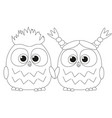 black and white poster with an owl couple vector image vector image