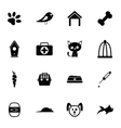 Black pet icons set