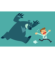 business man run from bear vector image