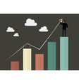 Businessman standing on bar graph drawing a growth vector image vector image