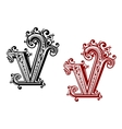 Capital letter V with floral elements vector image vector image