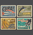 caribbean and cuba travel fishing vacation vector image vector image