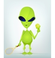 Cartoon Alien Tennis vector image vector image