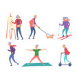 cartoon color characters active old people concept vector image vector image