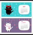 cat horizontal calendar 2017 cute funny cartoon vector image vector image