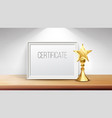certificate diploma with golden cup print vector image vector image