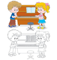 Children play a piano vector image vector image