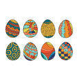 collection colorful easter eggs in doodle style vector image