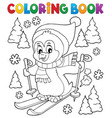 coloring book skiing penguin theme 1 vector image vector image