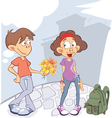 Cute Guy and Girl in Love Cartoon vector image vector image