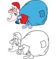 Cute Santa Claus and Sack Full vector image vector image