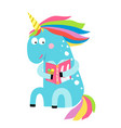 cute unicorn reading a book vector image vector image