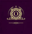 elegant frame monogram with the letter o gold vector image