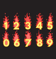 flaming number icons set vector image vector image