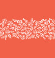 floral border white roses on coral red seamless vector image