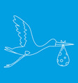 flying stork with baby icon outline style vector image vector image