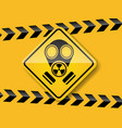 gas mask warning on yellow background vector image