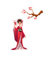 geisha in kimono and cherry tree sakura branch vector image