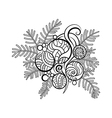 hand drawn fir branch with Christmas toys vector image