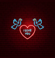 i love you heart neon label vector image vector image