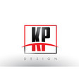 kp k p logo letters with red and black colors and vector image vector image