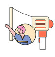 loudspeaker and speaking man avatar icon vector image