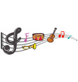musical instruments and music notes in background vector image vector image
