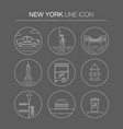 new york thin line icon set vector image vector image