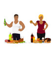 overweight people fast food or unhealthy vector image vector image