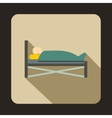 Patient in bed in hospital icon flat style vector image vector image