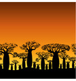 seamless decorative border of baobabs silhouette vector image vector image