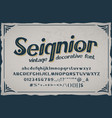 seignior - vintage font with base vector image vector image