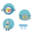 set of artificial intelligence vector image