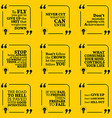 Set of motivational warning quotes about vector image vector image