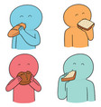 set of people eating bread vector image