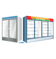 set realistic refrigerator showcase isolated vector image vector image