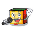 singing rubik cube mascot cartoon vector image vector image