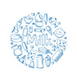sketch milk products farm breakfast vector image vector image