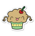 sticker of a cartoon cupcake vector image vector image