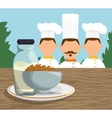three character chef breakfast cereal milk vector image