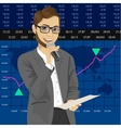 TV reporter with exchange graph chart data report vector image vector image