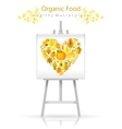 Vegetarian heart on canvas and easel yellow vector image vector image