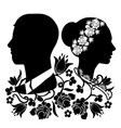 wedding silhouette with flourishes 4 vector image vector image