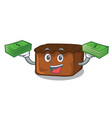 with money bag brownies mascot cartoon style vector image vector image