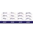 Set labels with hand-drawn lettering months names vector image