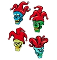 Cartoon clown and joker skulls vector image